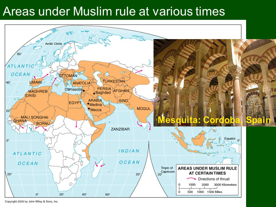 Areas under Muslim rule at various times Mesquita: Cordoba, Spain