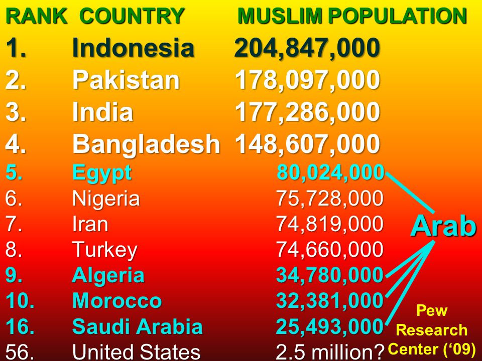 RANK COUNTRY MUSLIM POPULATION Arab 1.Indonesia204,847,000 2.Pakistan178,097,000 3.India177,286,000 4.Bangladesh148,607,000 5.Egypt 80,024,000 6.Niger