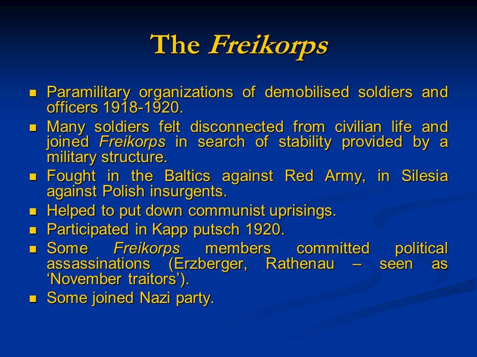 Paramilitary organizations of demobilised soldiers and officers 1918-1920. Paramilitary organizations of demobilised soldiers and officers 1918-1920.