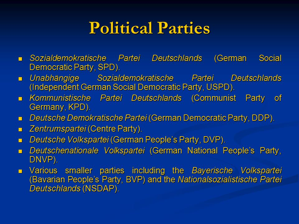 Political Parties Sozialdemokratische Partei Deutschlands (German Social Democratic Party, SPD).