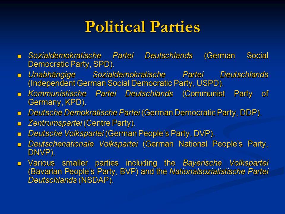 Political Parties Sozialdemokratische Partei Deutschlands (German Social Democratic Party, SPD). Sozialdemokratische Partei Deutschlands (German Socia