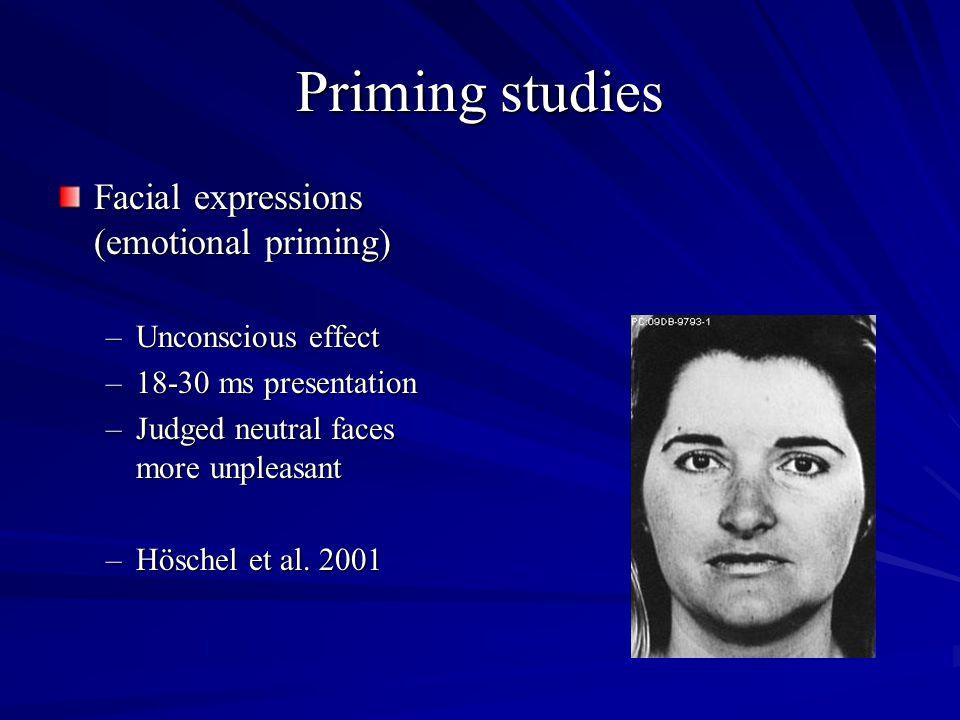 Priming studies Facial expressions (emotional priming) –Unconscious effect –18-30 ms presentation –Judged neutral faces more unpleasant –Höschel et al.