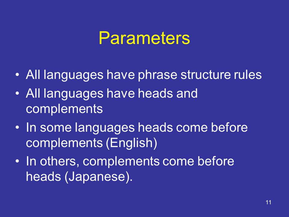 11 Parameters All languages have phrase structure rules All languages have heads and complements In some languages heads come before complements (English) In others, complements come before heads (Japanese).