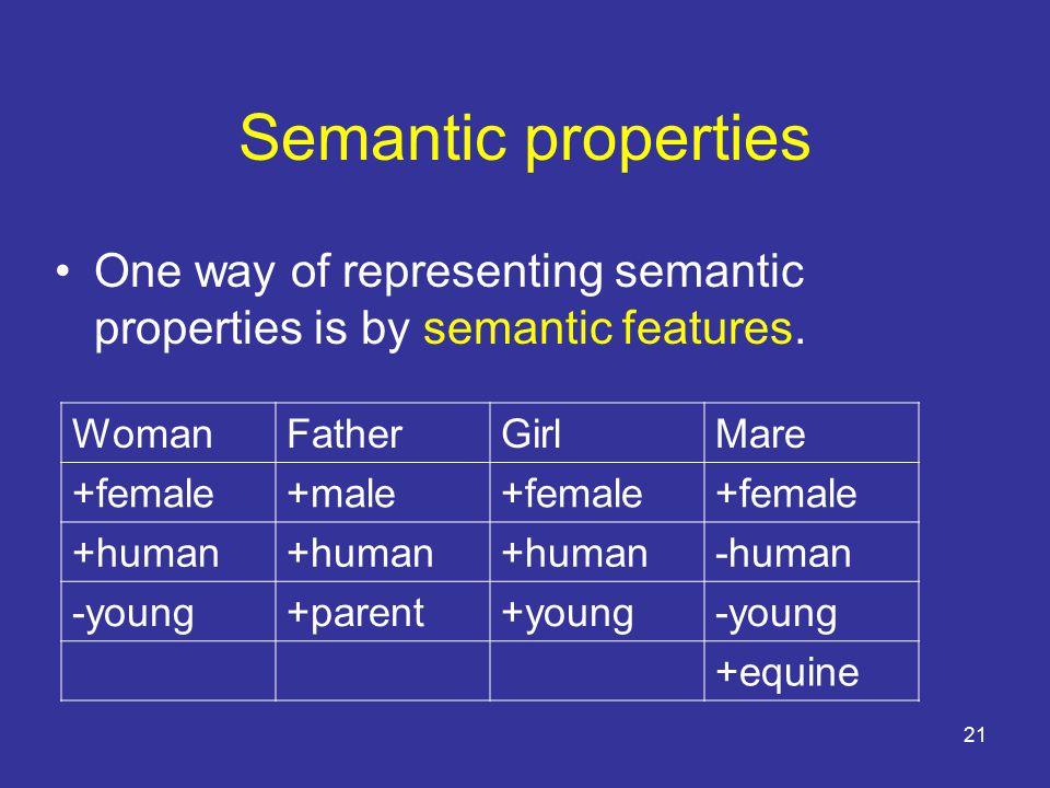 21 Semantic properties One way of representing semantic properties is by semantic features.