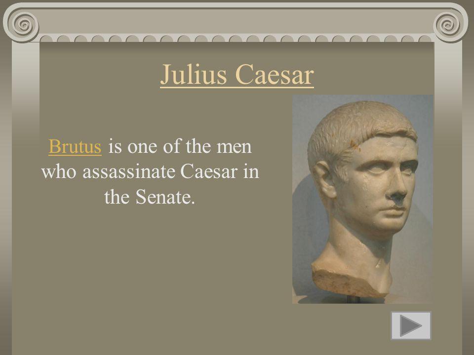 Julius Caesar BrutusBrutus is one of the men who assassinate Caesar in the Senate.