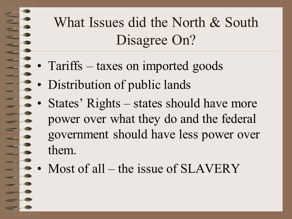 What Issues did the North & South Disagree On.