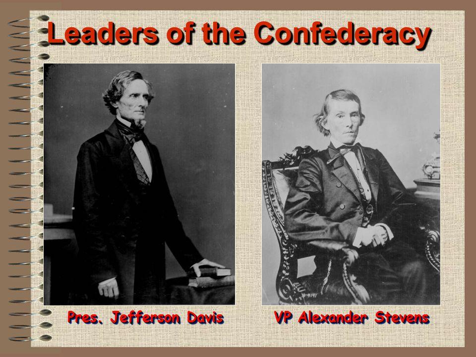 Leaders of the Confederacy Pres. Jefferson Davis VP Alexander Stevens