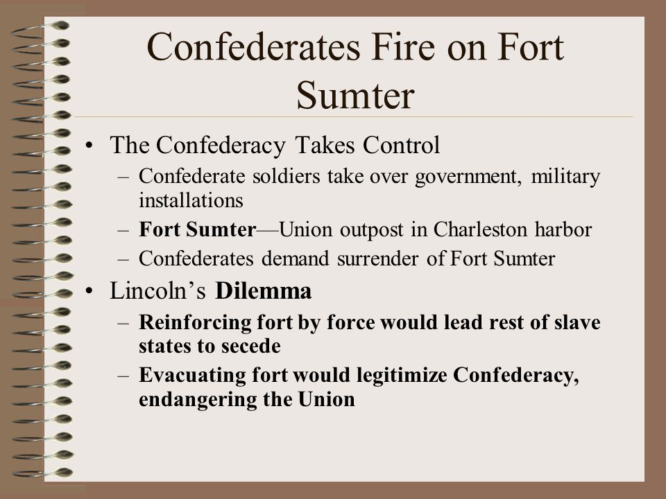 Confederates Fire on Fort Sumter The Confederacy Takes Control –Confederate soldiers take over government, military installations –Fort Sumter—Union o