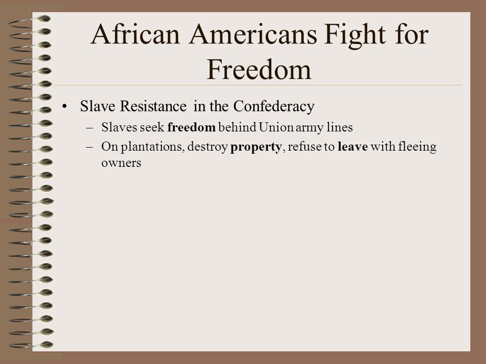 African Americans Fight for Freedom Slave Resistance in the Confederacy –Slaves seek freedom behind Union army lines –On plantations, destroy property, refuse to leave with fleeing owners