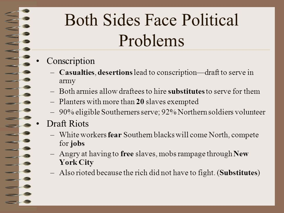 Both Sides Face Political Problems Conscription –Casualties, desertions lead to conscription—draft to serve in army –Both armies allow draftees to hir
