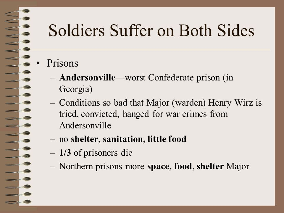 Soldiers Suffer on Both Sides Prisons –Andersonville—worst Confederate prison (in Georgia) –Conditions so bad that Major (warden) Henry Wirz is tried,
