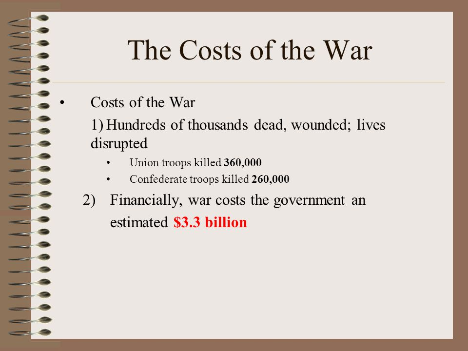 The Costs of the War Costs of the War 1)Hundreds of thousands dead, wounded; lives disrupted Union troops killed 360,000 Confederate troops killed 260,000 2)Financially, war costs the government an estimated $3.3 billion