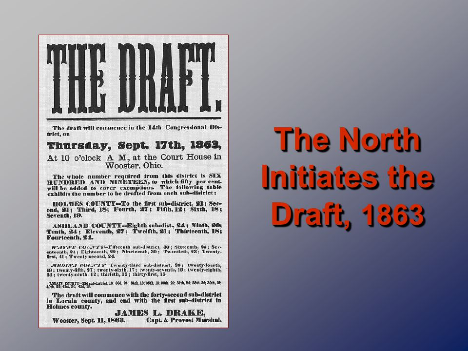 The North Initiates the Draft, 1863