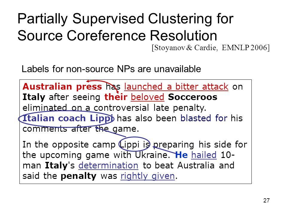 27 Partially Supervised Clustering for Source Coreference Resolution Australian press has launched a bitter attack on Italy after seeing their beloved Socceroos eliminated on a controversial late penalty.