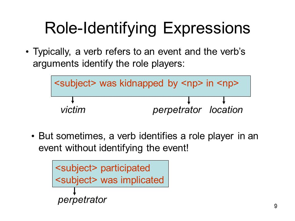 9 Role-Identifying Expressions Typically, a verb refers to an event and the verb's arguments identify the role players: But sometimes, a verb identifi