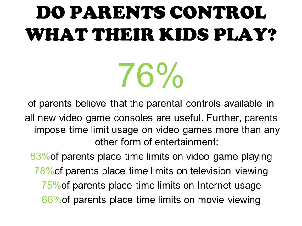 DO PARENTS CONTROL WHAT THEIR KIDS PLAY.
