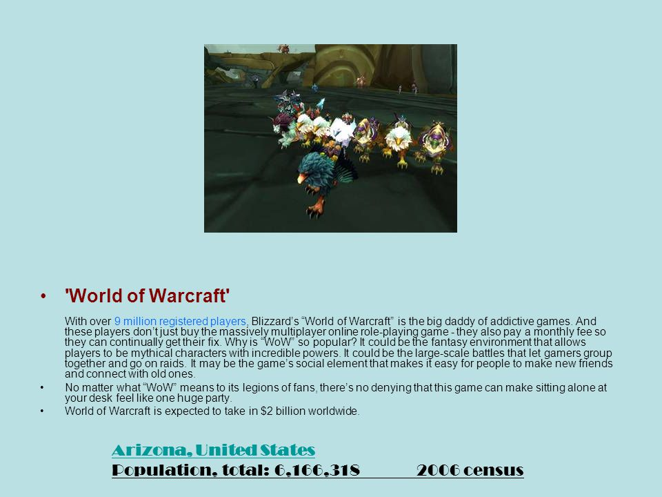 World of Warcraft With over 9 million registered players, Blizzard's World of Warcraft is the big daddy of addictive games.