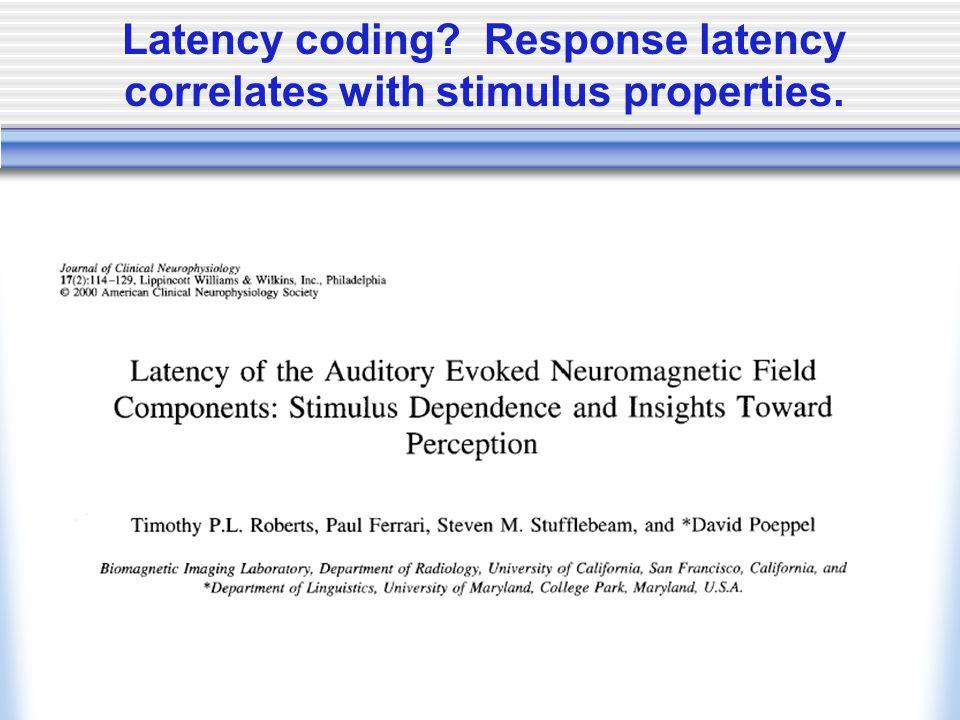 Latency coding? Response latency correlates with stimulus properties.