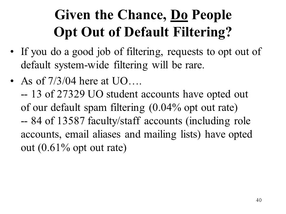 40 Given the Chance, Do People Opt Out of Default Filtering.