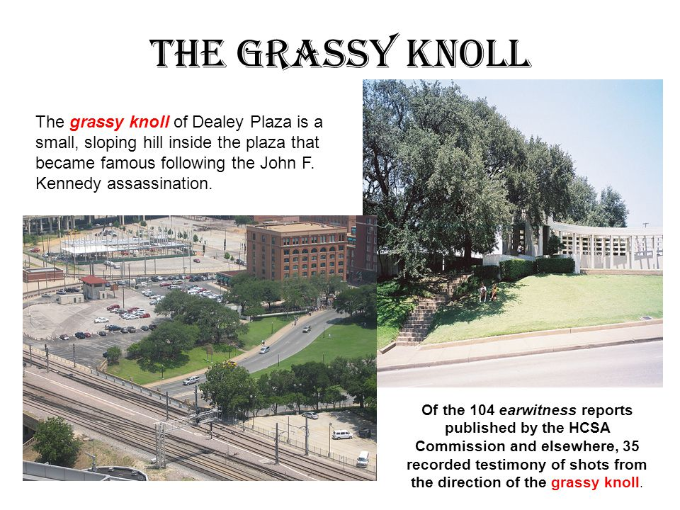 The Grassy Knoll The grassy knoll of Dealey Plaza is a small, sloping hill inside the plaza that became famous following the John F.