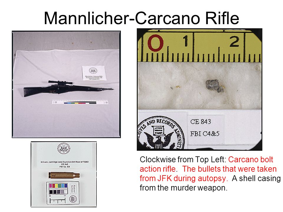 Mannlicher-Carcano Rifle Clockwise from Top Left: Carcano bolt action rifle.