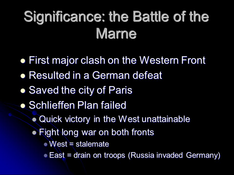 The Western Front Stalemate - deadlock Stalemate - deadlock Trench warfare Trench warfare No man's land No man's land