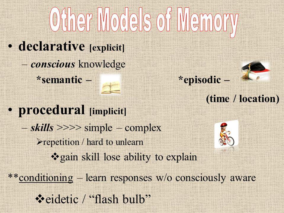 declarative [explicit] –c–conscious knowledge *semantic –*episodic – procedural [implicit] –s–skills >>>> simple – complex rr epetition / hard to un