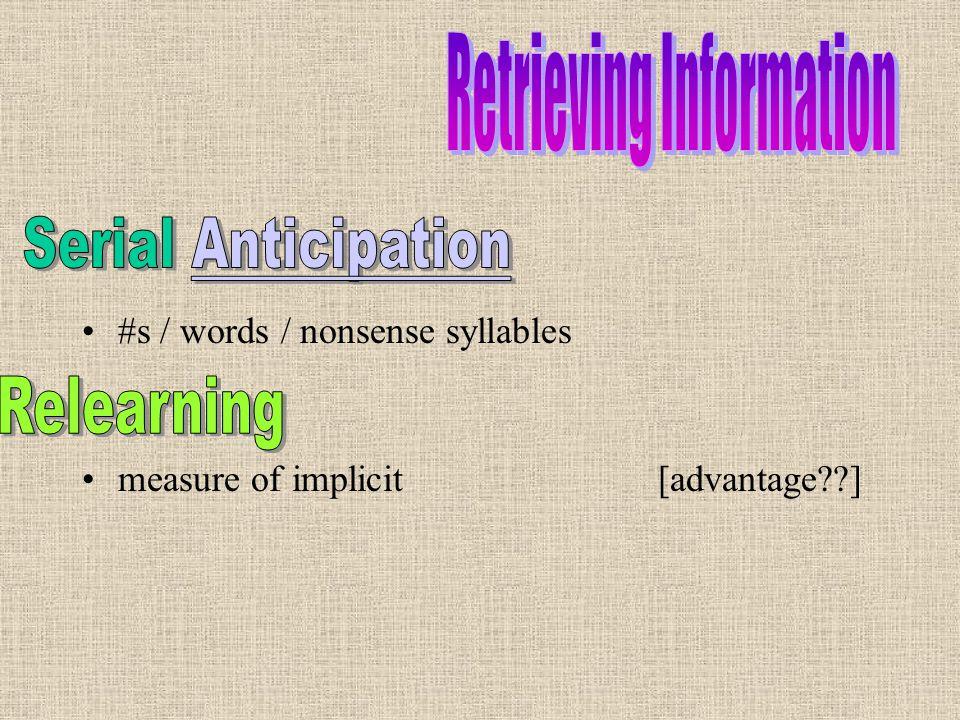 #s / words / nonsense syllables measure of implicit[advantage??]