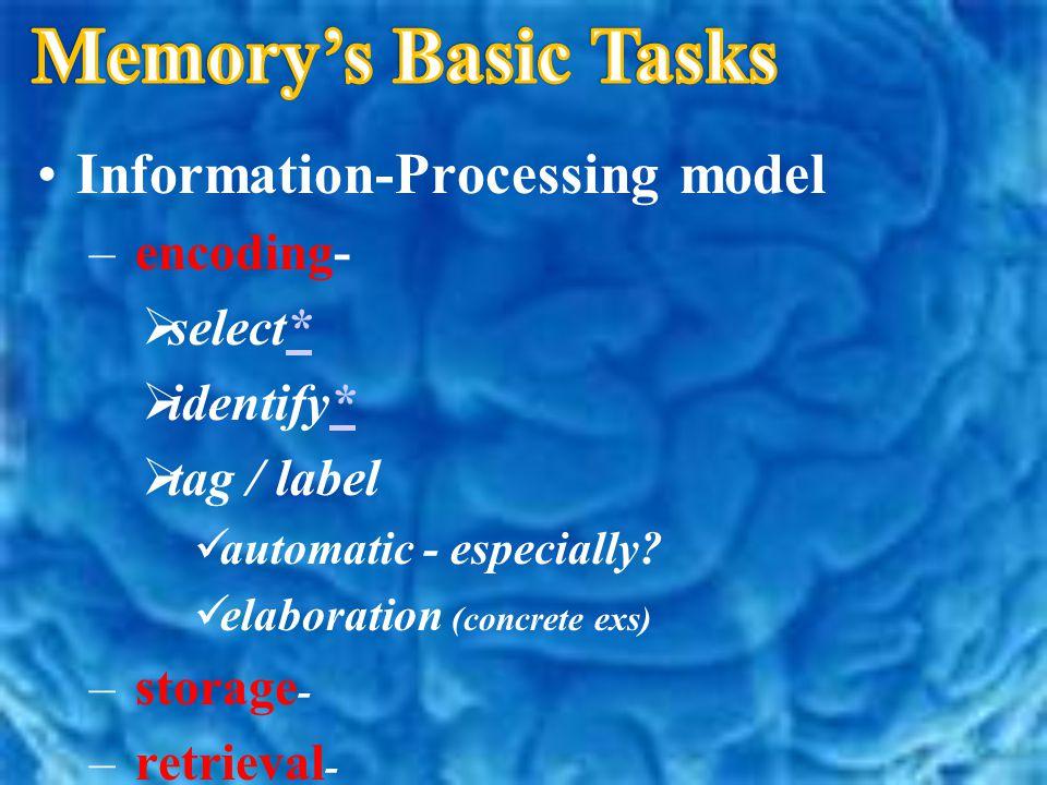 Information-Processing model – e– encoding- ss elect* ii dentify* tt ag / label a utomatic - especially? e laboration (concrete exs) – s– storag