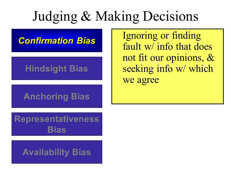 Judging & Making Decisions Confirmation Bias Hindsight Bias Anchoring Bias Representativeness Bias Availability Bias Ignoring or finding fault w/ info