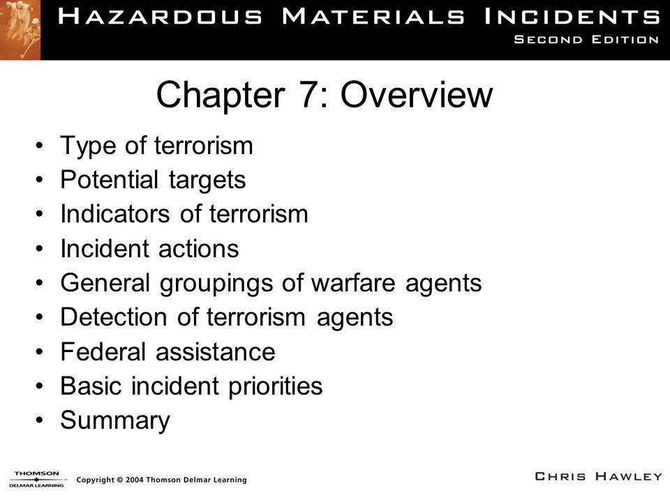 Terrorism in the United States This chapter examines terrorism response as well as HAZMAT crimes.