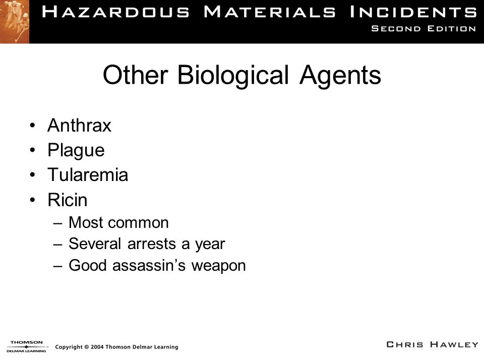Other Biological Agents Anthrax Plague Tularemia Ricin –Most common –Several arrests a year –Good assassin's weapon