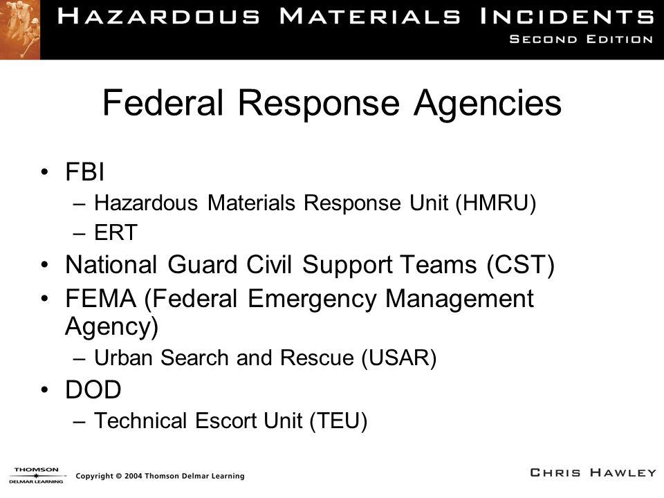 Federal Response Agencies FBI –Hazardous Materials Response Unit (HMRU) –ERT National Guard Civil Support Teams (CST) FEMA (Federal Emergency Manageme
