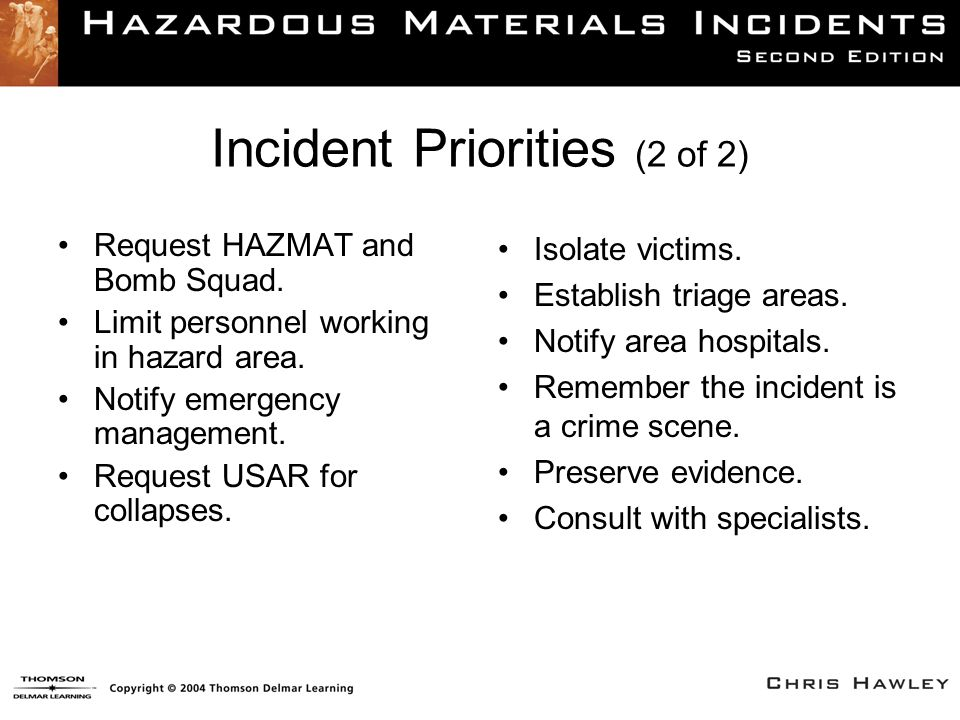 Incident Priorities (2 of 2) Request HAZMAT and Bomb Squad. Limit personnel working in hazard area. Notify emergency management. Request USAR for coll