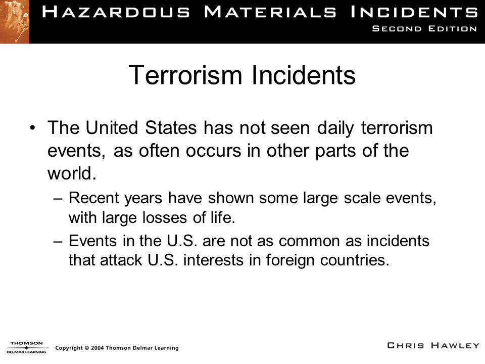 Terrorism Incidents The United States has not seen daily terrorism events, as often occurs in other parts of the world. –Recent years have shown some
