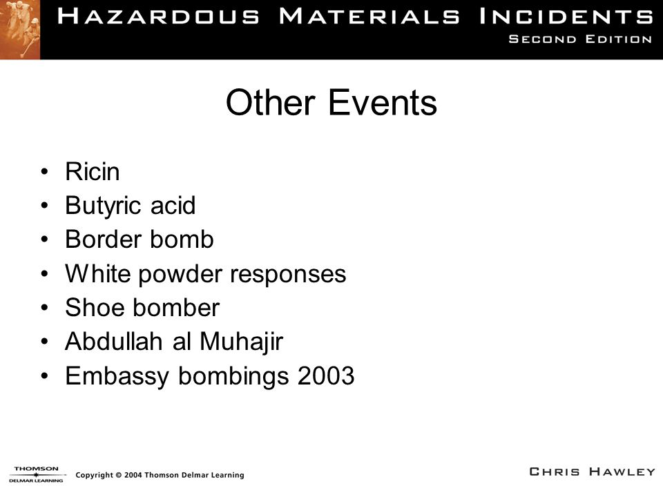 Other Events Ricin Butyric acid Border bomb White powder responses Shoe bomber Abdullah al Muhajir Embassy bombings 2003