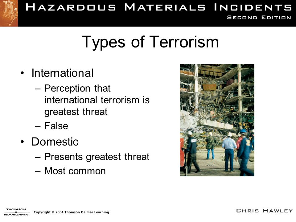 Types of Terrorism International –Perception that international terrorism is greatest threat –False Domestic –Presents greatest threat –Most common