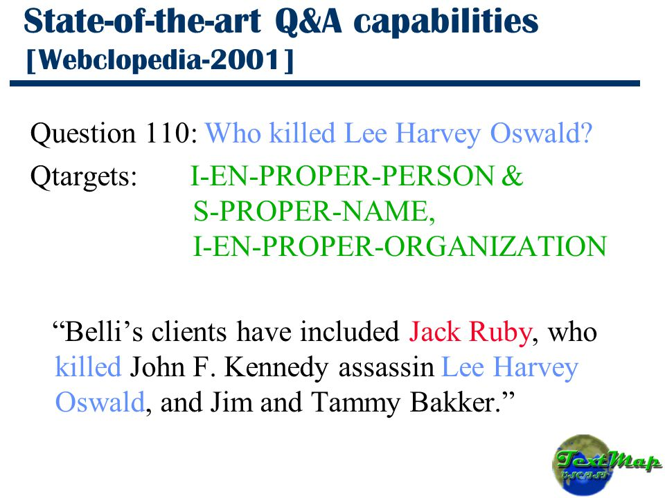 State-of-the-art Q&A capabilities [Webclopedia-2001] Question 110: Who killed Lee Harvey Oswald.