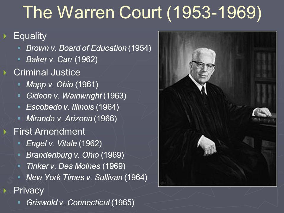 The Warren Court (1953-1969)   Equality   Brown v.