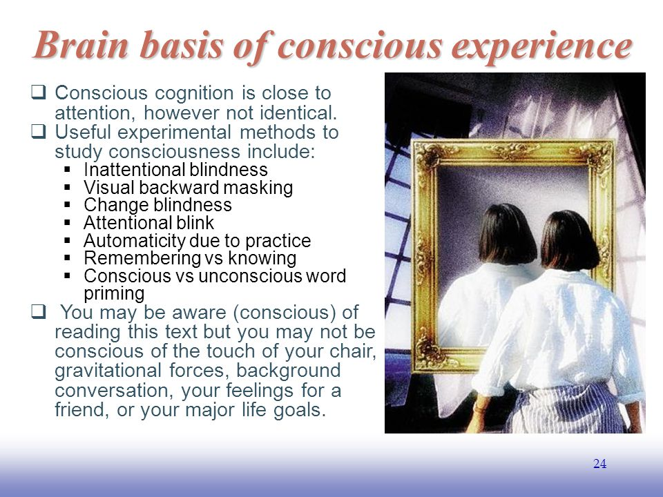 EE141 24 Brain basis of conscious experience  Conscious cognition is close to attention, however not identical.