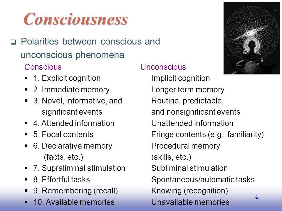 EE141 5  Polarities between conscious and unconscious phenomena Conscious Unconscious  11.
