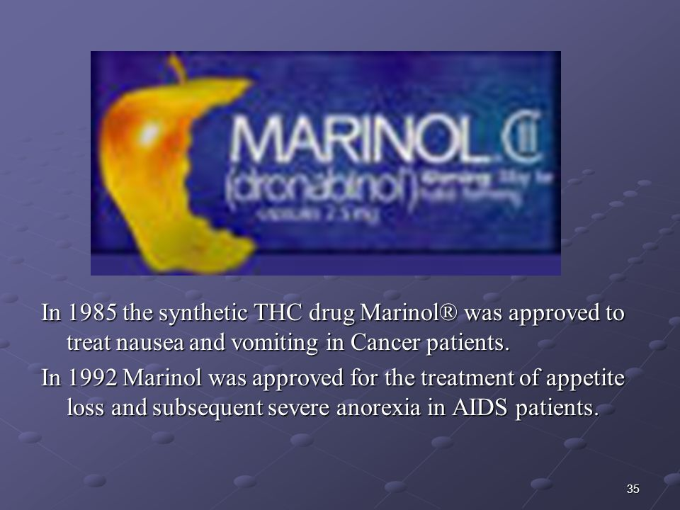 35 In 1985 the synthetic THC drug Marinol® was approved to treat nausea and vomiting in Cancer patients. In 1992 Marinol was approved for the treatmen