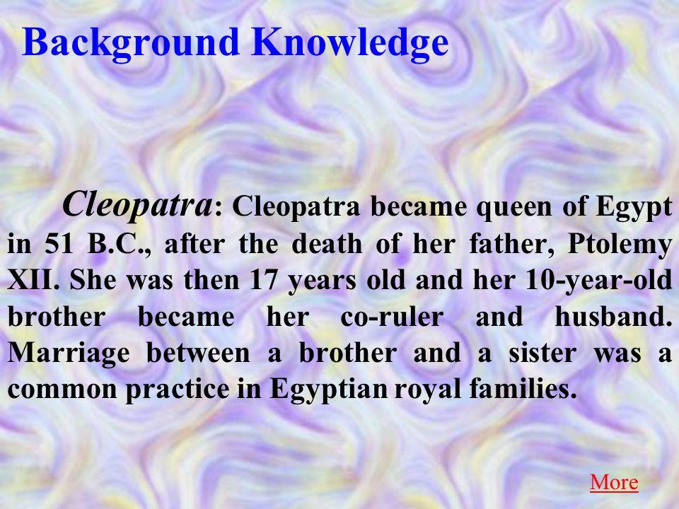 Translation 5.Cleopatra quickly set up a meeting with Octavian. 克里奥佩特拉迅即安排了与屋大维的会面。 Return