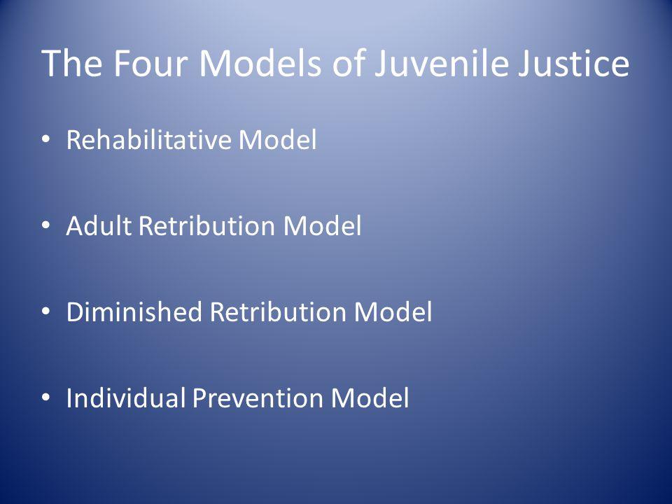 The Four Models of Juvenile Justice Rehabilitative Model Adult Retribution Model Diminished Retribution Model Individual Prevention Model