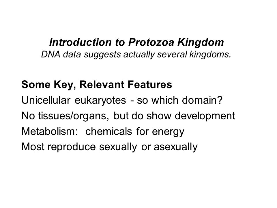 Introduction to Protozoa Kingdom DNA data suggests actually several kingdoms.