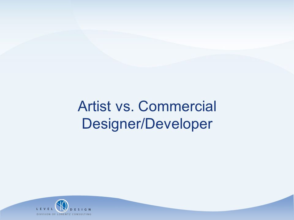 Artist vs. Commercial Designer/Developer
