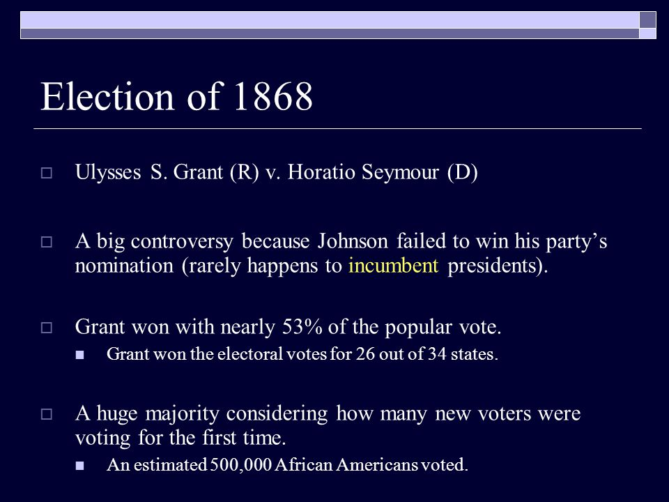 Election of 1868  Ulysses S. Grant (R) v.
