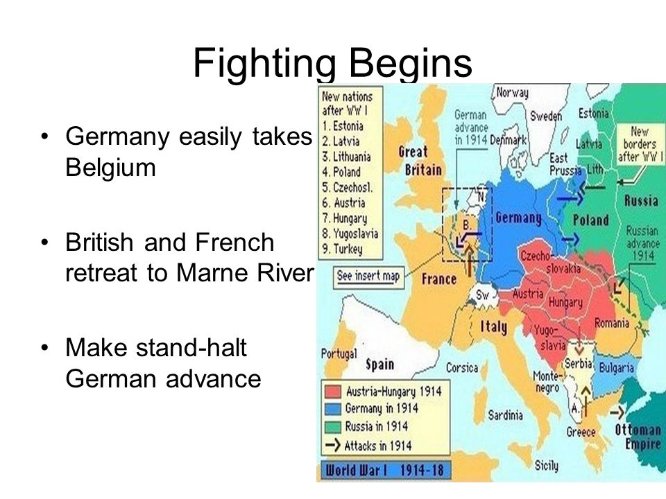 Fighting Begins Germany easily takes Belgium British and French retreat to Marne River Make stand-halt German advance