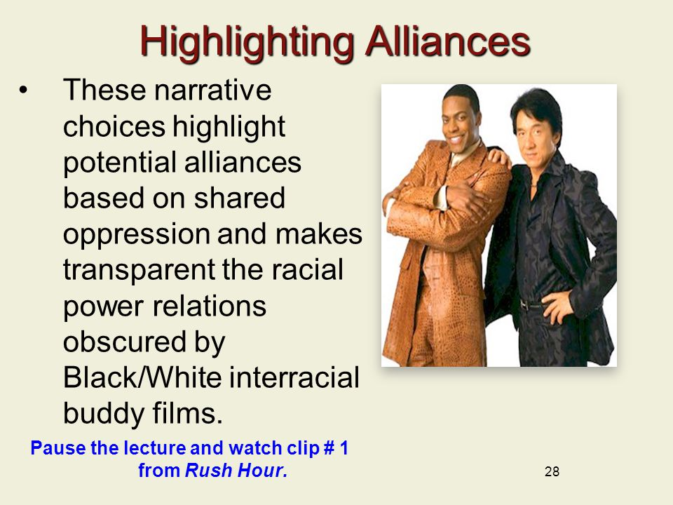 Highlighting Alliances These narrative choices highlight potential alliances based on shared oppression and makes transparent the racial power relatio