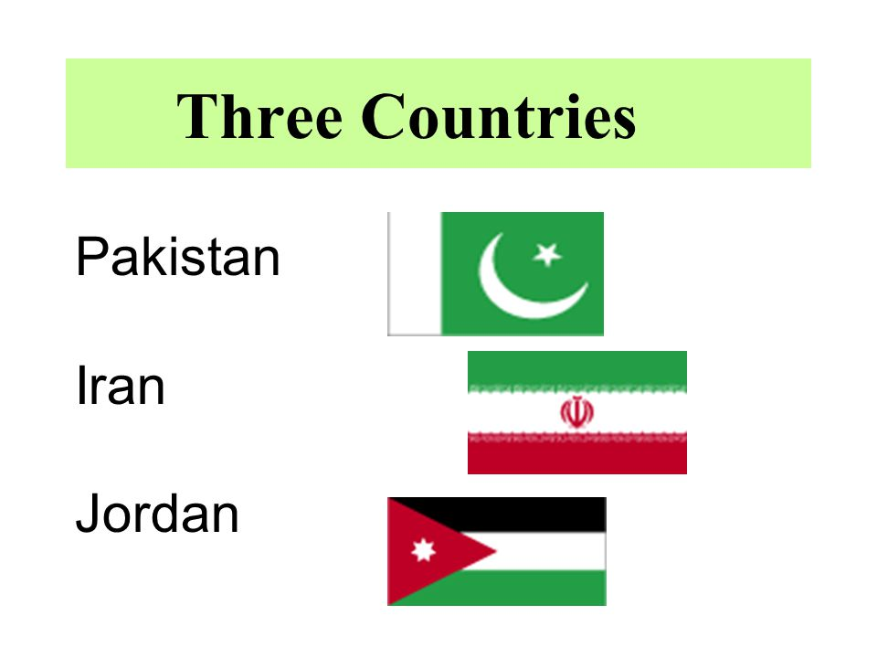 Three Countries Pakistan Iran Jordan